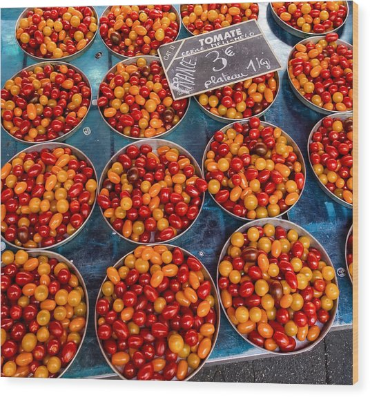 Cherry Tomatoes In Lyon Market Wood Print