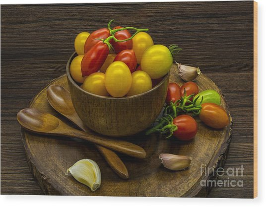 Cherry Tomatoes Still Life Wood Print