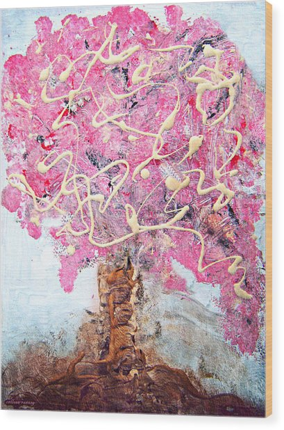 Cherry Tree By Colleen Ranney Wood Print