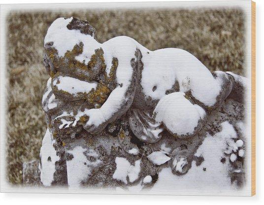 Cherub Stone Wood Print