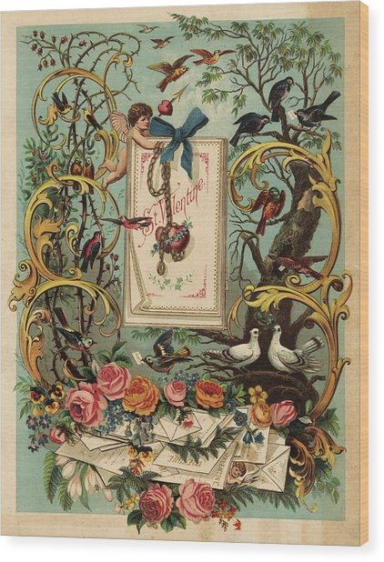 Cherubs, Doves, And Foliage In Outdoor Wood Print by Gillham Studios