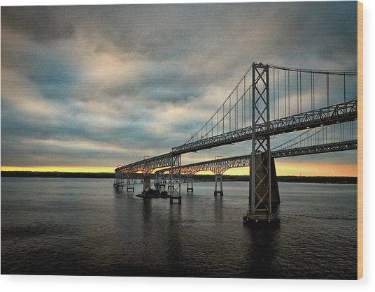 Chesapeake Bay Bridge At Twilight Wood Print