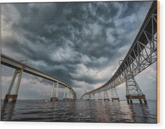 Chesapeake Bay Bridge Storm Wood Print