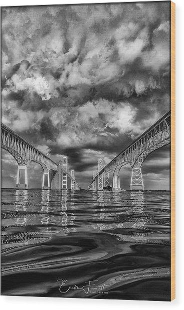 Chesapeake Bay Bw Wood Print