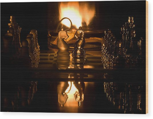 Chess Knights And Flame Wood Print