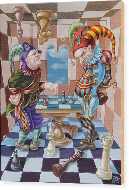 Chess Players Wood Print