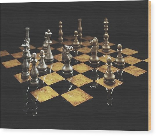 Chess The Art Game Wood Print