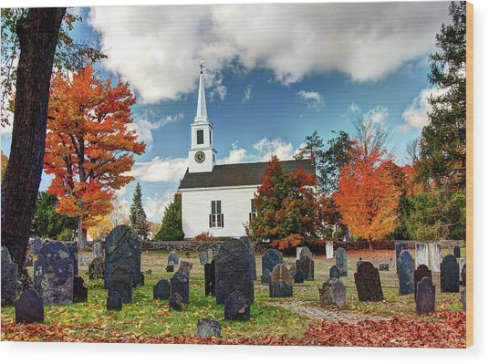 Chester Village Cemetery In Autumn Wood Print