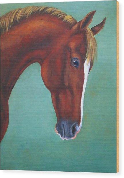 Chestnut Horse Wood Print by Oksana Zotkina