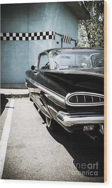 Chevrolet Impala In Front Of American Diner Wood Print