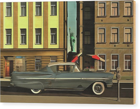 Chevrolette Impala At The Big Apple Wood Print