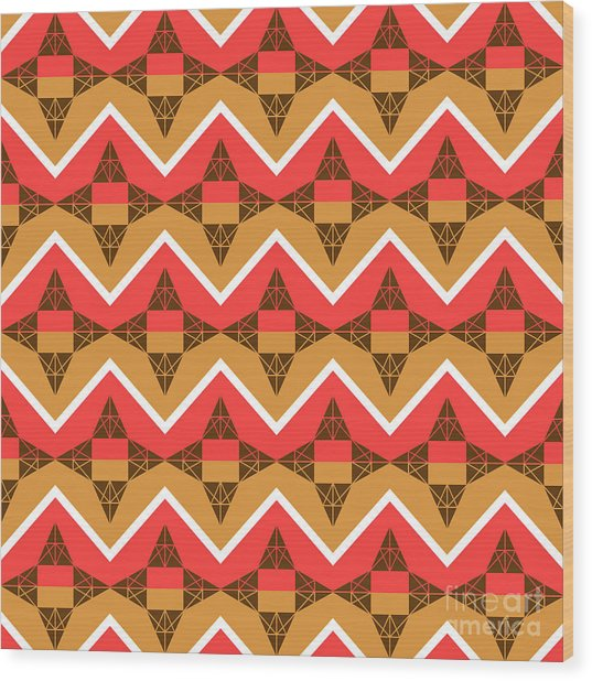 Chevron And Triangles Wood Print