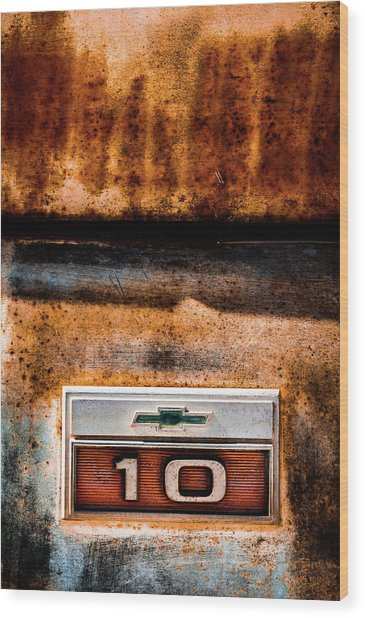 Chevy C10 Rusted Emblem Wood Print