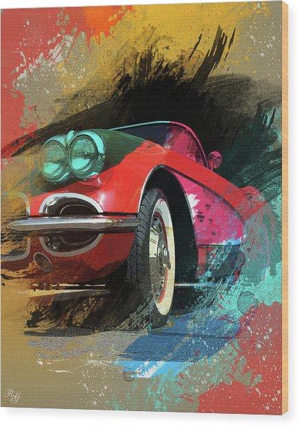 Chevy Corvette Digital Art Wood Print