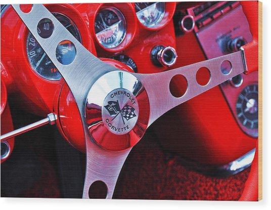 Chevy Corvettte Steering Wheel Wood Print