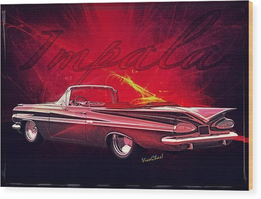 Chevy Impala Convertible For 1959 Wood Print