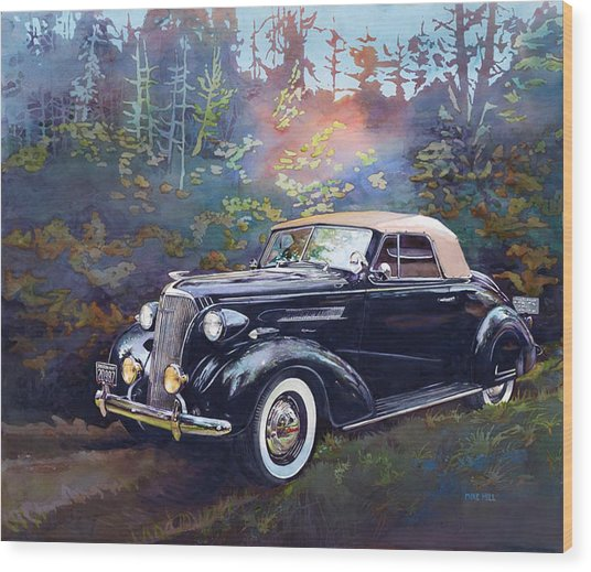 Chevy In The Woods Wood Print by Mike Hill