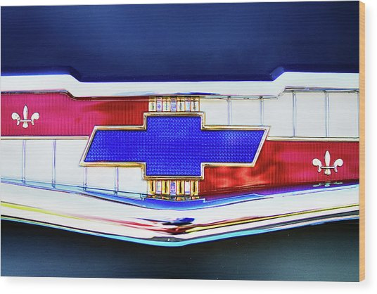 Chevy's Fifties Bowtie Wood Print