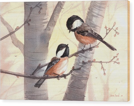 Chic Chat Wood Print by Sean Seal