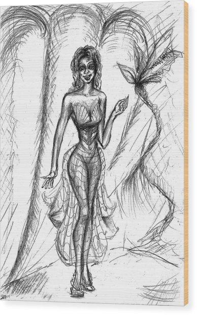 Chic Mermaid  Wood Print by Yelena Rubin