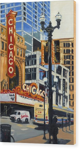 Chicago - The Chicago Theater Wood Print