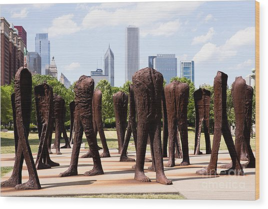 Chicago Agora Headless Statues Wood Print by Paul Velgos