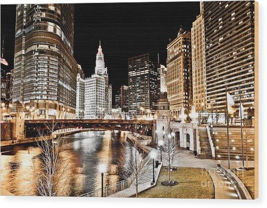 Chicago At Night At Wabash Avenue Bridge Wood Print by Paul Velgos
