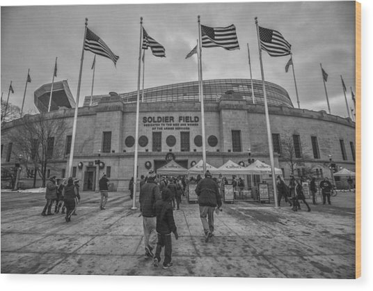 Chicago Bears Soldier Field Black White 7861 Wood Print