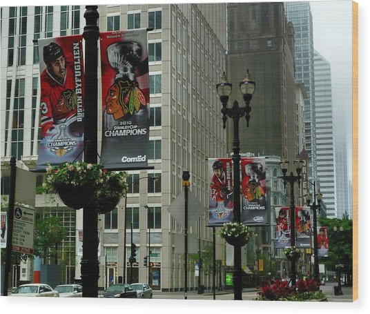 Chicago Blackhawk Flags Wood Print