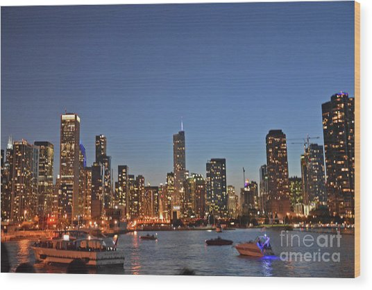 Chicago Bright Wood Print by Andrea Simon