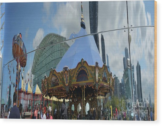 Chicago Carousel Wood Print by Andrea Simon