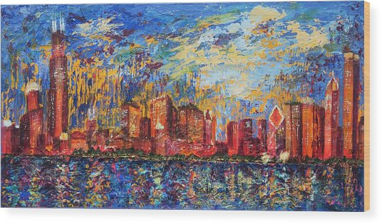Chicago City Scape Wood Print