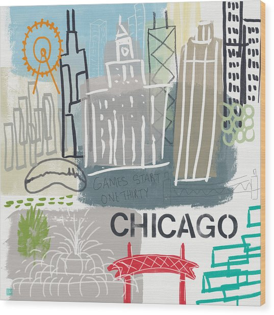 Chicago Cityscape- Art By Linda Woods Wood Print