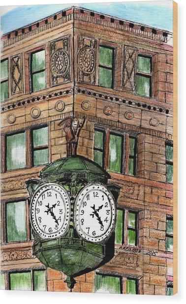 Chicago Clock Wood Print