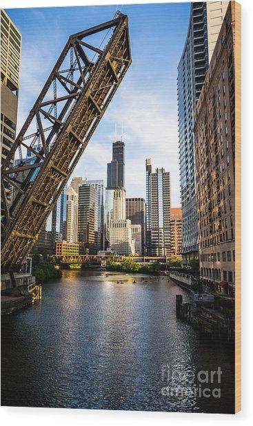 Chicago Downtown And Kinzie Street Railroad Bridge Wood Print