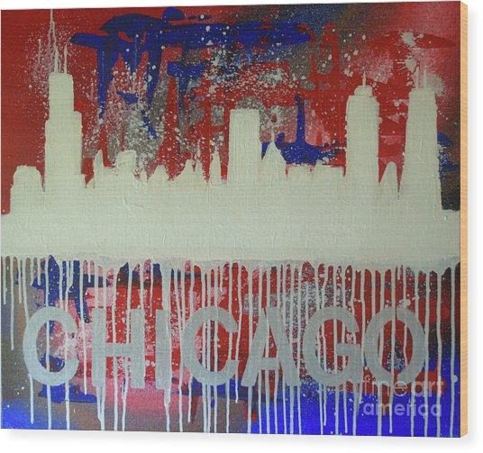 Chicago Drip Wood Print