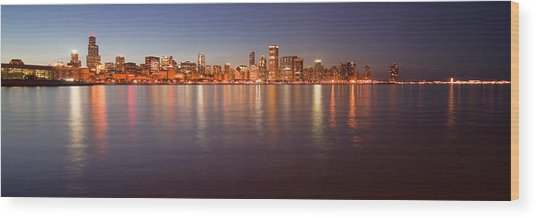 Chicago Dusk Skyline Panoramic  Wood Print