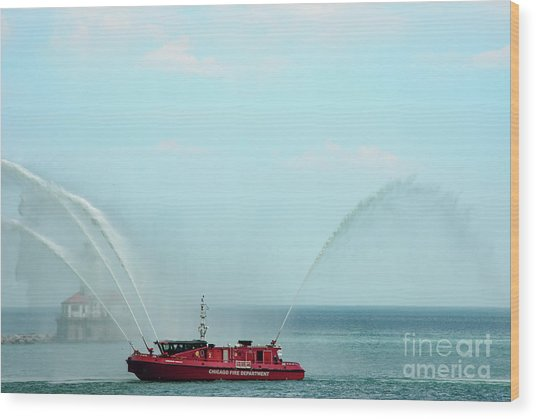 Chicago Fire Department Fireboat Wood Print