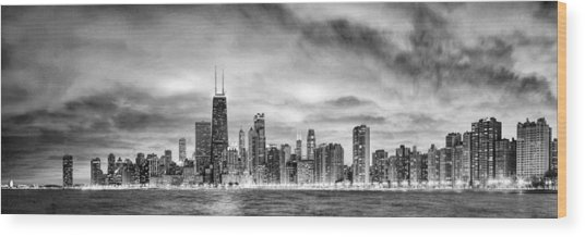 Chicago Gotham City Skyline Black And White Panorama Wood Print