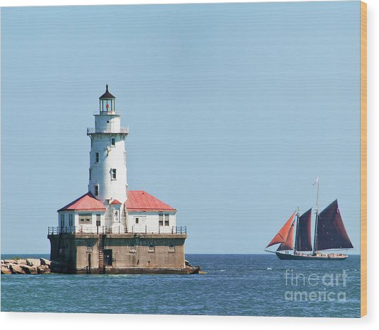 Chicago Harbor Lighthouse And A Tall Ship Wood Print