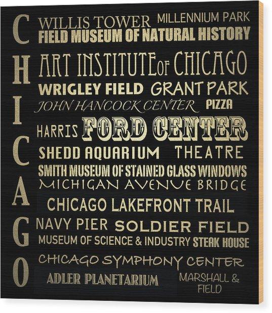 Chicago Illinois Famous Landmarks Wood Print