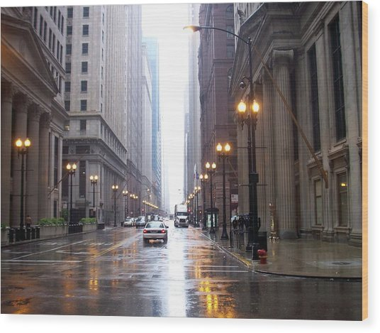 Chicago In The Rain Wood Print