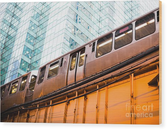 Chicago L Elevated Train  Wood Print