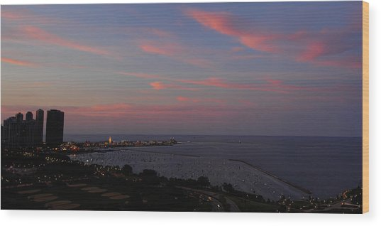 Chicago Lakefront At Sunset Wood Print