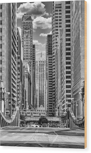 Chicago Lasalle Street Black And White Wood Print