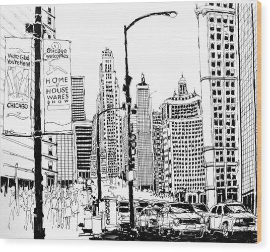 Chicago Michigan Avenue  Wood Print