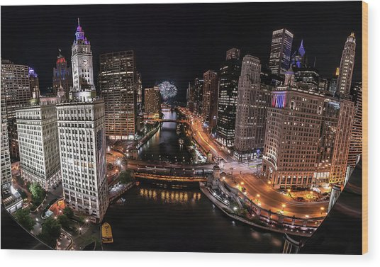 Chicago Night Live - Pano Wood Print