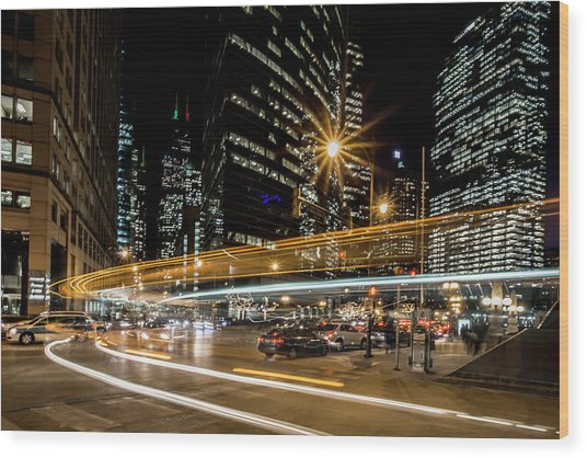 Chicago Nighttime Time Exposure Wood Print
