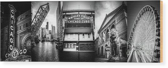 Chicago Panorama Collage High Resolution Photo Wood Print