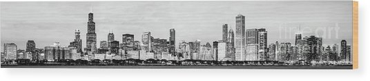 Chicago Panorama High Resolution Black And White Photo Wood Print